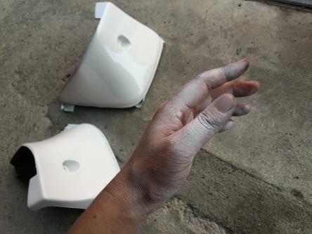 手まで塗装