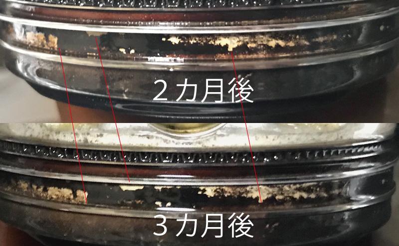 シュアラスターLOOP 3カ月後と2カ月後の比較